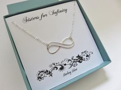 Sister Gift, Double Infinity Necklace, Sterling Silver Infinity Necklace  ||  Sterling silver double infinity necklace What a beautiful necklace to give someone you love. The infinity symbol represents your never ending bond of…