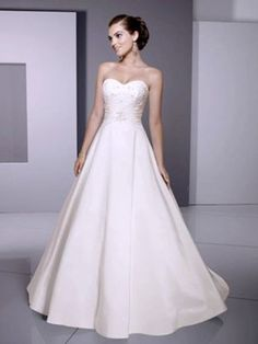 A Line Sweetheart Strapless Long Wedding Dresses Low Back Style