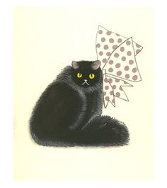 Black Cat Wall Art - Persian cat art - Persian Art - 4 for 3 SALE Sophisticat - drawing (4 X 6 print)