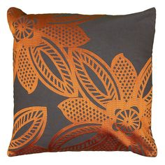 Rizzy Home Contemporary Floral Throw Pillow, Orange