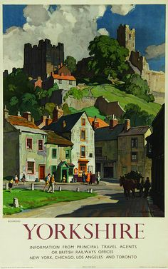 Vintage Ralway Travel Poster - YORKSHIRE - Richmond - by Squirrell, Leonard Russell, (1893-1979).                                                                                                                                                                                 More