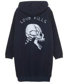 LOVE KILLS LONG HOODED SWEAT   Zoe Karssen