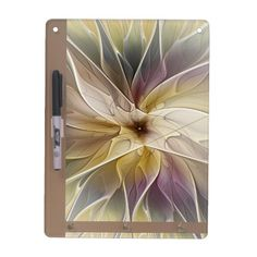 Floral Fantasy Gold Aubergine Abstract Fractal Art Dry-Erase Board