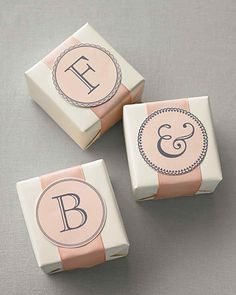 In just two steps (download and print) you can have beautiful calligraphed or monogrammed clip art to adorn gifts, favors, decorations, and more.