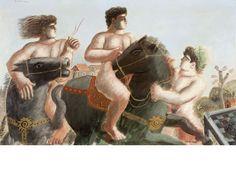 '' Return from Troy '' Mythical horse riding' by Greek artist Alekos Fassianos (b.1935). Exhibited 1986, Galerie Beaubourg, Paris. Acrylic on canvas, 98.5 x 160 cm. via Bonham's