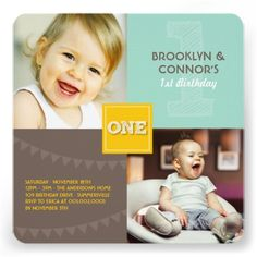 Fun Modern Square ONE Baby Twins 1st Birthday Invitations