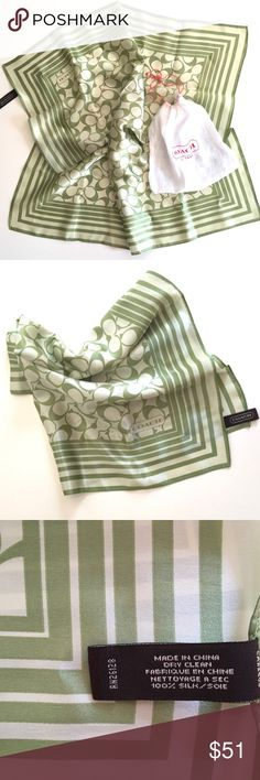 Coach % Silk Scarf NWOT very classy and cute coach silk square scarf! With coach pattern and beautiful olive/green color. Coach Accessories Scarves & Wraps