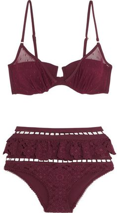 Zimmermann Good Times Ruffled Broderie Anglaise and Point D'esprit Triangle Bikini $740