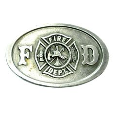 Fire Department belt buckle.    FD Shield .  Vintage 1987.  New Old Stock.  Made by C+J Inc.  Branded  Made In U.S.A .  Solid Pewter.  Approximately m