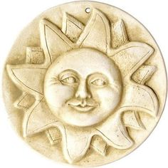 Detailed sun face with warm wash over white stone works well for garden or indoor decor. Handcrafted garden plaque is ready to hang for a distinctive art piece with nice contrast. Designed by Pam Ball 7th Grade Art, Stencils, Sun Painting, Garden Plaques, Clay Art Projects, Sun Art, Face Painting Designs, Moon Design, Summer Art