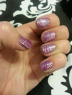 Jamberry Nails...Purple & Silver Crisscross