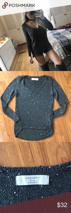 """Zara Sparkly Knit High Low Top This top is soooo gorgeous! Pictures don't do justice of how sparkly and pretty this top is. Features a v neckline on a fitted knit high low style top. 23""""-27"""" Shoulder to hem. Slightly See Through so i recommend wearing a top. Can be worn in so many different ways. Fits like a true small. Offers welcome! Zara Tops"""