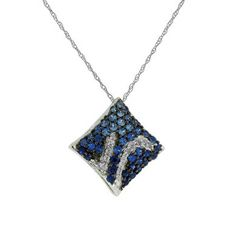 0.95 ct Diamond with Sapphire Necklace in 14k White Gold with 14k White Gold Chain | GrandeJewelry.com