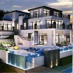 Modern House Floor Plans, Log Home Interiors, Modern Villa Design, Cute Bedroom Decor, Fancy Houses, Modern Mansion, Luxury Homes Dream Houses, Home Design Plans, Exterior Design