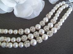 Pearl Bridal Bracelet,Cuff Bracelet,Pearl and Rhinestone Bracelet Swarovski Pearls Crystal,3 Strand, Wedding Jewelry,Pearl Bridal,Statement by Uniquebeadables on Etsy