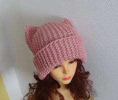 PINK Cat Ears Hat Cat Beanie Chunky Knit Winter by Ifonka on Etsy