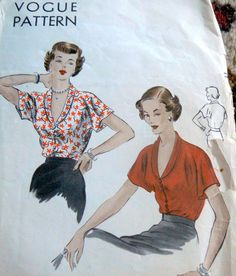 LOVELY VTG 1940s BLOUSE VOGUE Sewing Pattern BUST 40