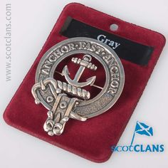 Gray Clan Crest Cap Badge. Free worldwide shipping available