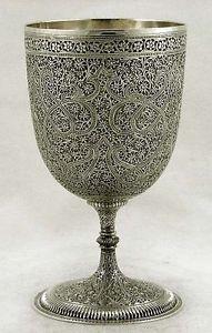 Indian Sterling Silver Swirling Vine Wine Goblet Kashmir c1880 11 oz (sold for 735.99 )