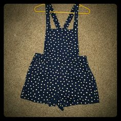 Short bibs Super cute navy blue an white polka dot bibs, wear criss cross or straight in the back. Size large fits like medium. Forever 21 Shorts