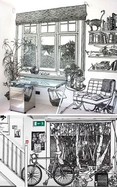 """""""Charlotte Mann is a British artist known for her wall drawings and drawn room installations. These densely detailed 1:1 scale drawings of rooms in rooms are invariably made with thick black marker pen on a white ground."""""""