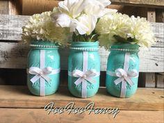 BLUE AND WHITE RIBBON MASON JAR. BLUE MASON JAR. TURQUOISE MASON JAR. TURQUOISE CENERPIECES