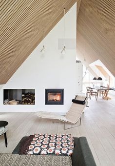 Home of Steen Lauth, in Denmark, by Arkitekt Rasmus Skaarup, of Arkitekter A Frame Cabin, A Frame House, Interior Architecture, Interior And Exterior, Interior Design, Loft, Wooden Ceilings, House Roof, Sweet Home