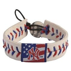 New York Yankees Stars and Stripes Leather Seam Bracelet