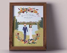 Last Minute Wedding Gift - Printable Couples Portrait or Invites // Wedding Guest Book // Romantic Theme Suite