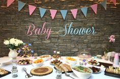 Baby Shower Themed Party l Baby Shower Ideas l Pink and Blue Party Blue Party, Shower Ideas, Party Themes, Table Settings, Baby Shower, Joy, Table Decorations, Pink, Gifts
