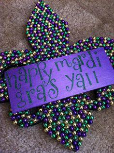 Mardi Gras Bead Fleur De Lis by Sherribaby86 on Etsy, $45.00
