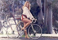 Popular '70s style; hot pants with nearly knee high boots.