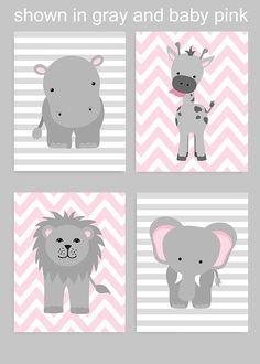 Zoo Nursery Decor, Gray and Pink Nursery, Girl Zoo Nursery, Elephant Nursery, Sa. Jungle Nursery, Elephant Nursery, Animal Nursery, Giraffe, Elephant Canvas, Elephants, Nursery Wall Decor, Nursery Art, Nursery Layout