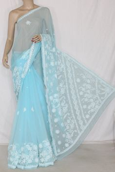 Sky Blue Hand Embroidered Lucknowi Chikankari Saree (With Blouse - Georgette) Rich Border & Pallu 12712