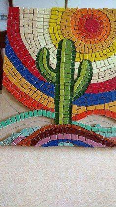 Cactus venecitas Mosaic Garden Art, Mosaic Pots, Pebble Mosaic, Mosaic Glass, Mosaic Tiles, Tile Crafts, Mosaic Crafts, Mosaic Projects, Mosaic Artwork