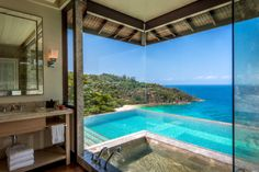 Discover luxurious tree-house living at the beautiful Four Seasons Seychelles. An idyllic, luxury resort in a pristine jungle setting in the Seychelles. Four Seasons Hotel, Best Resorts, Hotels And Resorts, Luxury Hotels, Hotels With Infinity Pools, Luxury Hotel Bathroom, Les Seychelles, Seychelles Hotels, Images Murales