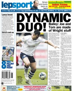 Today's back page 29-04-15 - BAILEY Wright believes the inclusion of his Preston team-mates Tom Clarke and Joe Garner in the PFA team of the year was just reward.