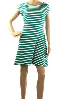 Old Navy Dress Above Knee Teal White Striped Cap Sleeve Cotton Blend Women's- M #OldNavy #Casual