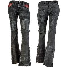 Custom Denim Leather Laced Flare Pants WSCP-134 MTO
