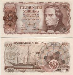 Austria 500 Schilling 1965  Bohemian forest warden and the inventor of the ship's propeller Joseph Ludwig Franz Ressel; Propelled sailing ship.