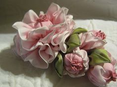 I ❤ ribbonwork . . . Pink with buds-   By Grandmas flower Garden