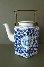 Vintage Chinese Teapot  Blue White Porcelain Brass Hand painted Oriental