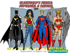 Some members of the Justice Society from Elseworld's Finest: Supergirl & Batgirl . From left to right: Batgirl, Wonder Woman, Sup. Batman Comic Art, Gotham Batman, Batman Comics, Batman Robin, Superman, Female Comic Characters, Superhero Characters, Dc Comics Characters, Gi Joe