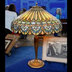 """""""Antiques Roadshow"""" Duffner & Kimberly Leaded Glass Table Lamp appraised at $15,000 - $20,000, in Eugene, Oregon."""