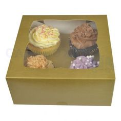4 Cupcake Gold Window Box £44.65 for 100 with free delivery