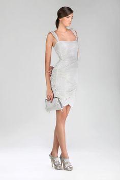 TONY WARD - Silver sculpture dress made of an innovative fabric, Chantilly Lace and Macramé.