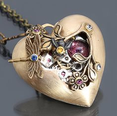 Steampunk Heart Pendant Steampunk Heart Necklace Steampunk Necklace