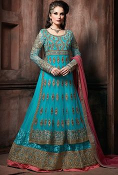 Aqua Blue Lehenga Choli Suit