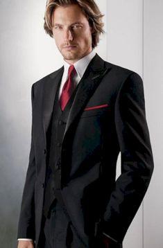 Wedding suits men tuxedo black tux 51 ideas for 2019 Black Suit Red Tie, Black Tuxedo Shirt, Red Tuxedo, Tuxedo For Men, Black Vest, Red Black, Red Shirt, Tuxedo Vest, Groom Tuxedo