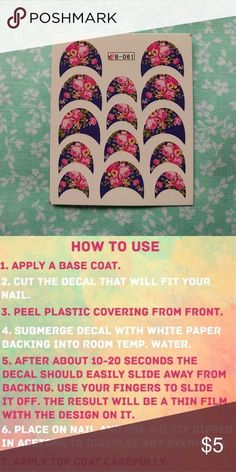 French Tip Waterslide Nail Decals Pink roses on a deep blue background.  Save time and still have a perfect manicure. These water transfer nail tattoo decals are perfect for the lazy nail artist.   To view all filter my closet: Category - Women - Makeup - None   SALE: Buy one at the original? price, get each additional small sheet for $2, and each additional large sheet for $3. Create your bundle and submit an offer Diamonds & Jules Makeup